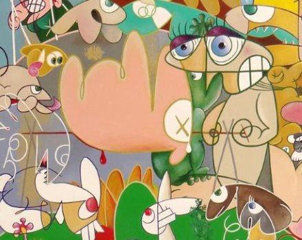 tableau peinture acrylique carnica humanité peintre eric bourdon