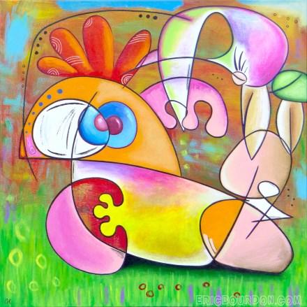 bird pedicure tableau peinture acrylique 440 eric bourdon