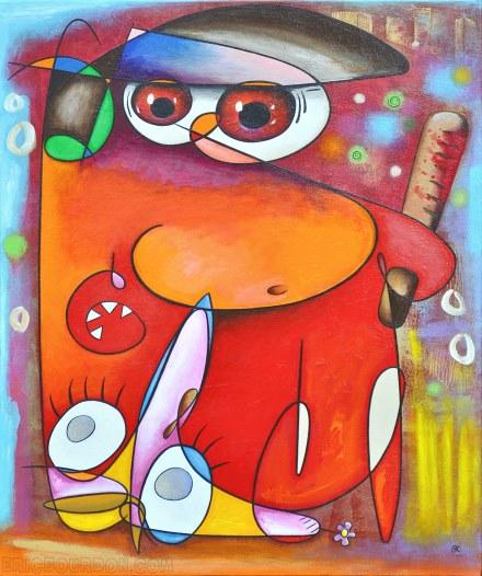 flic rouge gilet jaune peinture galerie peintre eric bourdon