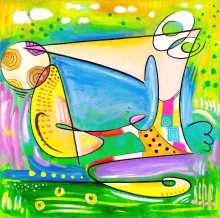 semi-abstraction footballistique reprise de volée galerie peinture peintre eric bourdon