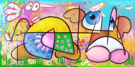 oiseau aimait vache plumes galerie peinture peintre eric bourdon